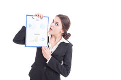 Sales woman or marketing manager presenting financial analysis Stock Images