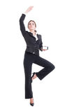 Sales woman presenting modern smartphone like a ballerina Royalty Free Stock Photography