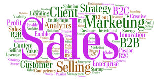 Sales Word Cloud. Word cloud around the theme Sales, Marketing and Strategy Stock Photography