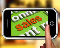 Sales In Word Cloud Phone Shows Promotions And Deals Royalty Free Stock Photos