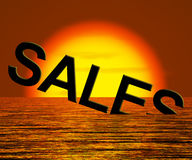 Sales Word Sinking Showing Reduced Income Stock Images