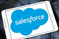 Salesforce company logo. Logo of salesforce company on samsung tablet . it is an American cloud computing company, working in customer relationship management Royalty Free Stock Photos