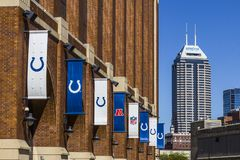 Indianapolis - Circa September 2017: Salesforce Tower as seen from Lucas Oil Stadium, home of the Colts VI Stock Photo