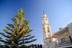 Salesian Church in Bethlehem. Tower of Salesian Church in Bethlehem, Christmas time Royalty Free Stock Images