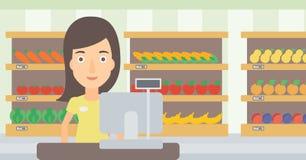 Saleslady standing at checkout. Stock Photography