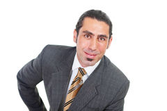 Salesman. Clever salesman with confident smiling expression stock images