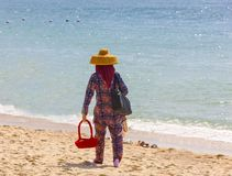 Salesman in the beach in China. Salesman in the beach in China stock images