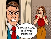 Salesman breaking door comic book style vector Stock Images