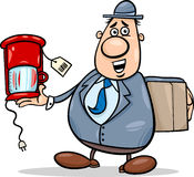 Salesman with coffee maker cartoon. Cartoon Illustration of Funny Salesman or Bagman with Coffee Maker Royalty Free Stock Images