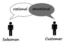 Salesman and customer. Difference between a rational salesman and an emotional customer Royalty Free Stock Image