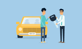 Salesman and Deliver the car. With flat cartoon character Royalty Free Stock Photos