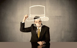 Salesman drawing hat and mustache Royalty Free Stock Photography