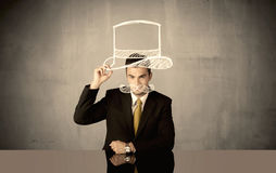 Salesman drawing hat and mustache Royalty Free Stock Photos