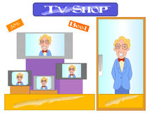Salesman in electronic store. Vector illustration of a salesman selling televisions in an electronic store surrounded by tv sets vector illustration