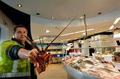 Salesman exhibit lobster in Auckland Fish Market. AUCKLAND - JULY 08 2015:Salesman exhibit lobster in Auckland Fish Market. The Fish Market building, hosts fresh stock images