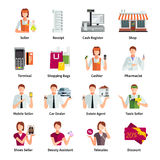 Salesman Flat Color Icons Set. With pharmacist car dealer estate agent mobile seller isolated vector illustration vector illustration