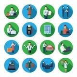 Salesman flat round icons set Stock Photos