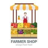 Salesman, food shop, fruit assortment, counter in flat vector Stock Photography