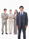 Salesman getting applause from colleagues Royalty Free Stock Photo