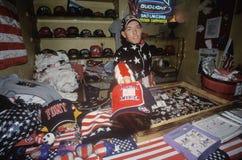 Salesman Holding �God Bless America� Hat, Salt Lake City, Utah Stock Photo