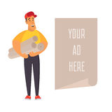 Salesman holding banner with place for advertisement. Flat vector illustration Royalty Free Stock Photos