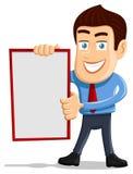Salesman holding empty board. Smiling Salesman holding empty board - Copy space stock illustration