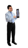 Salesman holding a silk tie Royalty Free Stock Images