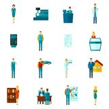 Salesman Icons Flat Set Stock Images