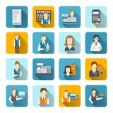 Salesman Icons Set Flat Stock Image