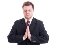 Salesman, lawyer, businessman or accountant praying gesture Stock Image