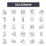 Salesman line icons, signs, vector set, linear concept, outline illustration. Salesman line icons, signs, vector set, outline concept linear illustration royalty free illustration