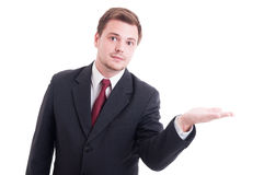 Salesman or marketing manager holding something on palm Stock Images