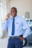 Salesman mobile phone Stock Images