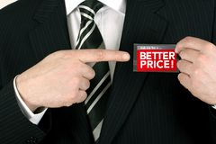 Salesman offering a bargain Stock Photography