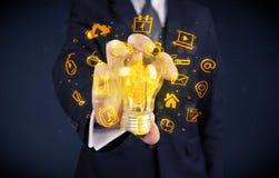 Salesman promoting his bright ideas Stock Photos