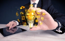 Salesman promoting his bright ideas Stock Images