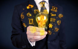 Salesman promoting his bright ideas Royalty Free Stock Image