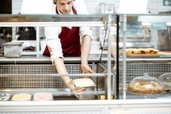 Salesman putting ice cream into the refrigerator. Salesman putting trays with ice cream into the showcase refrigerator at the pastry shop royalty free stock image