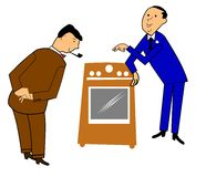 Salesman selling an appliance. To customer over white Stock Photography