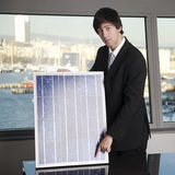 Salesman selling solar panel Royalty Free Stock Photos