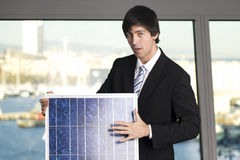 Salesman selling solar panel Stock Photos