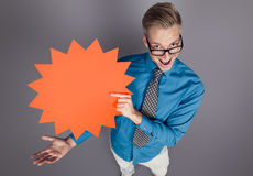 Salesman showing blank panel. Royalty Free Stock Images