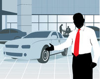 Salesman at showroom. Silhouette of a car salesman inviting to watch the cars at the showroom vector illustration