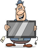 Salesman with television set cartoon. Cartoon Illustration of Funny Salesman or Bagman with Television Set Royalty Free Stock Photo