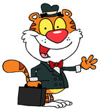 Salesman tiger. Waving and carrying a briefcase vector illustration
