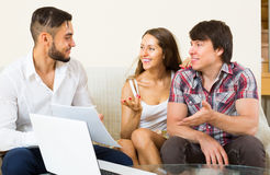 Salesman try to sign contract with couple Stock Photography