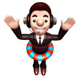 A Salesman wearing a tube. 3D Salesmen Character Stock Photos