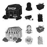 Salesman, woman, basket, plastic .Supermarket set collection icons in black,monochrom style vector symbol stock. Illustration Royalty Free Stock Images