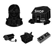 Salesman, woman, basket, plastic .Supermarket set collection icons in black style vector symbol stock illustration web. Salesman, woman, basket, plastic Royalty Free Stock Photo