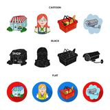 Salesman, woman, basket, plastic .Supermarket set collection icons in cartoon,black,flat style vector symbol stock. Illustration Royalty Free Stock Image